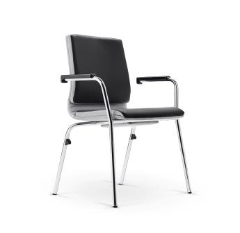Belive imitation leather  4-leg conference chair with padded armrests