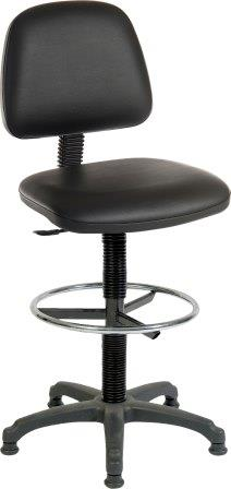 Budget mid height backrest draughtsman chair with vinyl upholstery