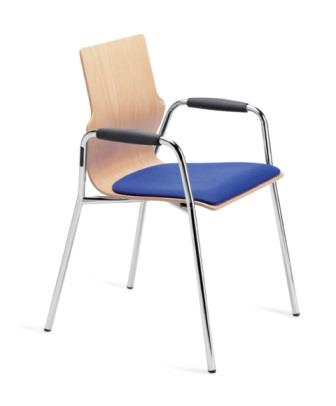 Conversa 4-leg stacking chair with padded armrests and upholstered seat