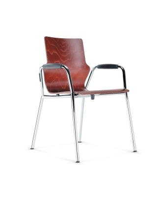 Conversa 4-leg stacking chair with padded armrests
