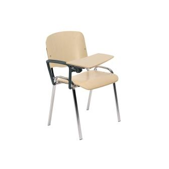 ISO 4-leg black / chrome frame conference training chair with beech wood seat and backrest and wood writing tablet