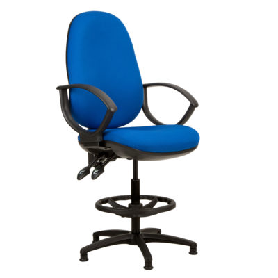 Kadeby 2-lever extra high back jumbo seat draughtsmans chair with wide seat and backrest with fixed loop arms
