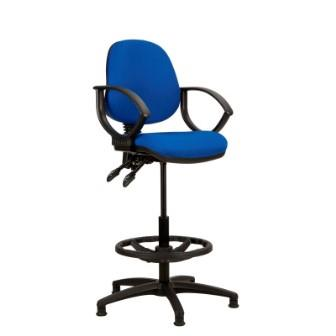 Kadeby 2-lever medium back draughtsmans chair with fixed loop arms (Standard seat width)