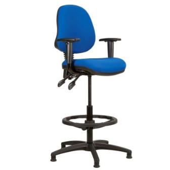 Kadeby 2-lever medium back draughtsmans chair with height adjustable arms (Standard seat width)