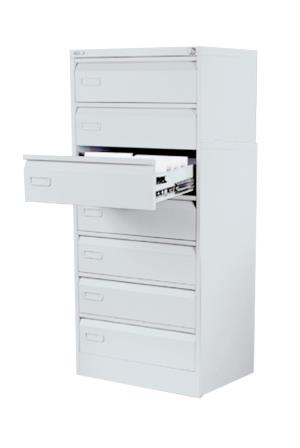 Alpha steel 7-drawer media cabinet for medical notes, Cd and or video storage