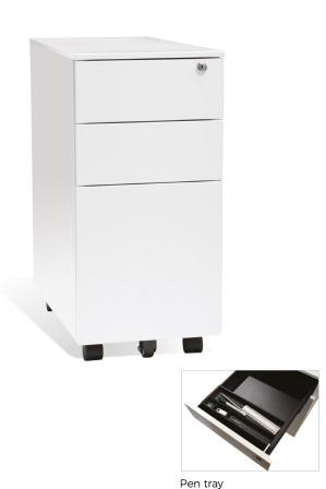 HK slimline square fronted 3-drawer mobile pedestal