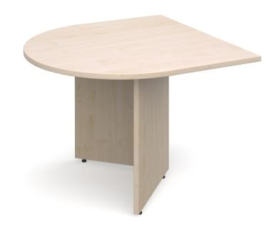 Entry level arrowhead leg extension table with radial end