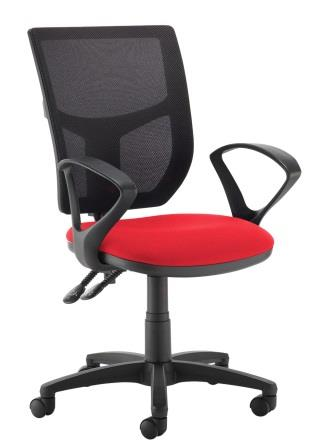 Absolute mesh back 2-lever operator chair with fixed loop arms. Camira Xtreme red fabric