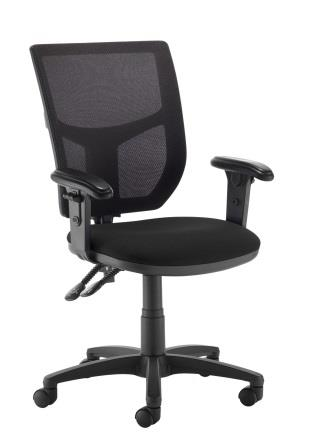 Absolute mesh back 2-lever operator chair with padded soft top height adjustable arms. Xtreme black fabric
