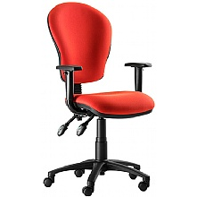 Aston high back 2-lever operator chair with height adjustable armrests. Red fabric