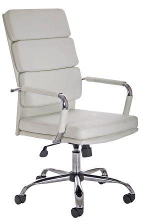Avion managerial chair with chrome base and stem in white bonded leather finish