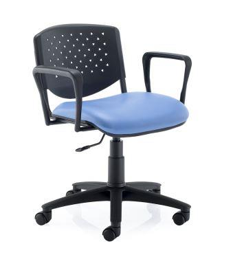 Eclat swivel chair with plastic perforated backrest, fixed arms and fabric seat