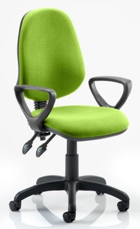 Elan operator chair with 2-lever mechanism contoured backrest fixed loop arms in bespoke madura fabric