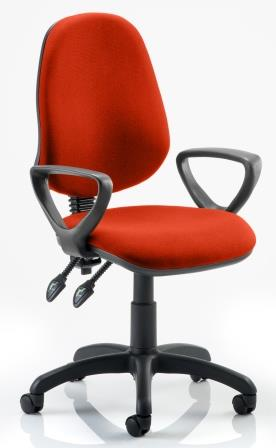 Elan operator chair with 2-lever mechanism contoured backrest fixed loop arms in bespoke pimento fabric