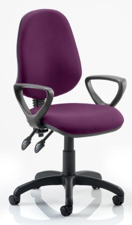 Elan operator chair with 2-lever mechanism contoured backrest fixed loop arms in bespoke purple fabric