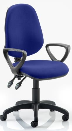 Elan operator chair with 2-lever mechanism contoured backrest fixed loop arms in bespoke serene fabric