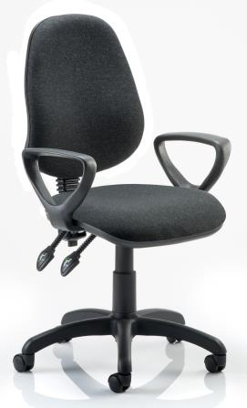 Elan operator chair with contoured backrest fixed loop arms in charcoal fabric