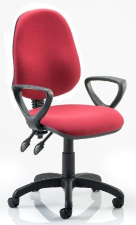 Elan operator chair with 2-lever mechanism contoured backrest fixed loop arms in wine fabric