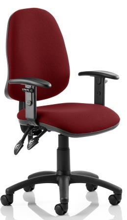 Elan operator chair with 2-lever mechanism contoured backrest height adjustable arms in bespoke chilli fabric