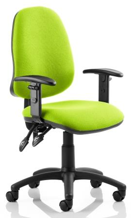Elan operator chair with 2-lever mechanism contoured backrest height adjustable arms in bespoke madura fabric