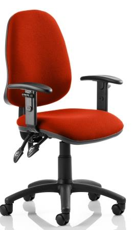 Elan operator chair with 2-lever mechanism contoured backrest height adjustable arms in bespoke pimento fabric