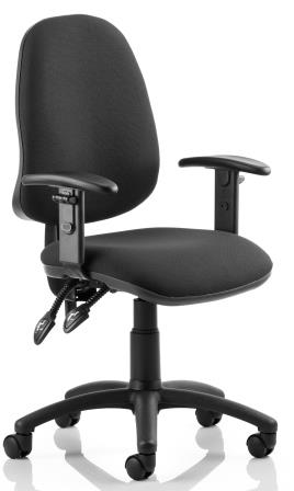 Elan operator chair with contoured backrest height adjustable arms in black fabric