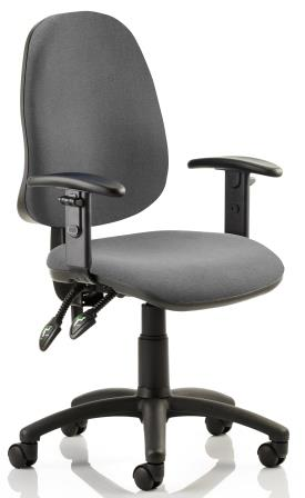 Elan operator chair with 2-lever mechanism contoured backrest height adjustable arms in charcoal fabric