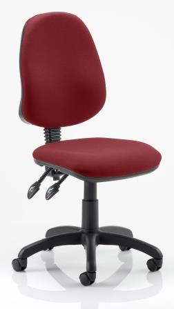 Elan operator chair with 2-lever mechanism, contoured backrest in bespoke chilli fabric