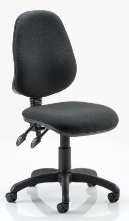 Elan operator chair with 2-lever mechanism, contoured backrest in black fabric