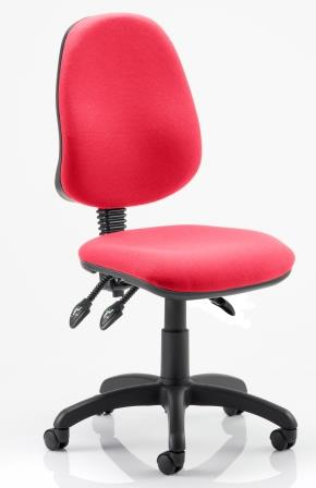 Elan operator chair with 3-lever mechanism contoured backrest in bespoke cherry red fabric