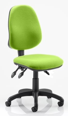Elan operator chair with 3-lever mechanism contoured backrest in bespoke madura fabric