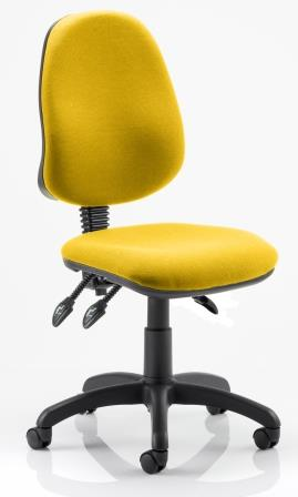 Elan operator chair with 3-lever mechanism contoured backrest in bespoke sunset fabric