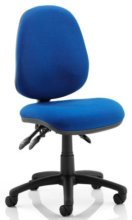 Elan operator chair with 3-lever mechanism contoured backrest in blue fabric