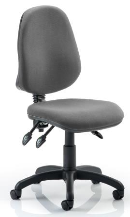Elan operator chair with 3-lever mechanism contoured backrest in charcoal fabric