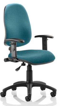 Elan operator chair with contoured backrest height adjustable arms in bespoke kingfisher fabric