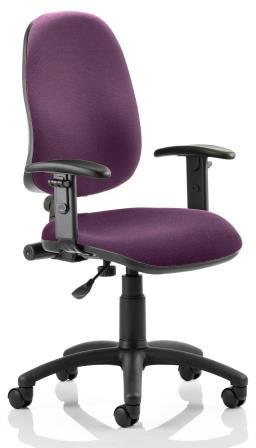 Elan operator chair with contoured backrest height adjustable arms in bespoke purple fabric