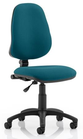 Elan operator chair with contoured backrest in bespoke kingfisher fabric