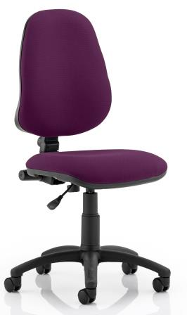 Elan operator chair with contoured backrest in bespoke purple fabric