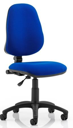 Elan operator chair with contoured backrest in blue fabric