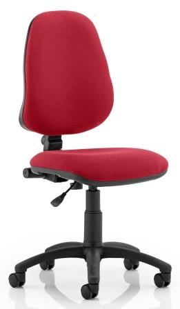 Elan operator chair with contoured backrest in wine fabric