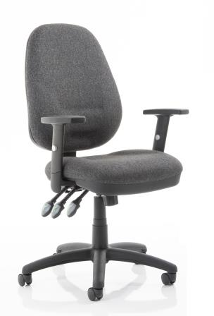 Elan Plus XL operator chair with 3-lever mechanism in charcoal fabric