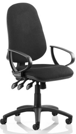 Elan XL operator chair with 3-lever mechanism contoured backrest fixed loop arms in black fabric