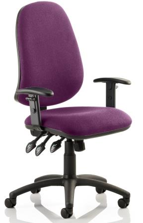 Elan Plus XL operator chair with 3-lever mechanism and soft padded height adjustable arms. Bespoke purple fabric