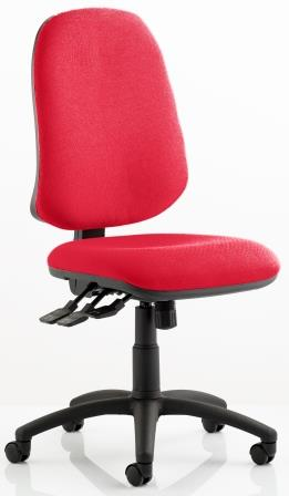 Elan XL operator chair with 3-lever mechanism contoured backrest in bespoke cherry fabric