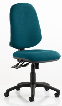 Elan XL operator chair with 3-lever mechanism contoured backrest in bespoke kingfisher fabric