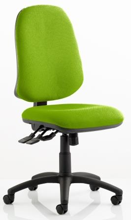 Elan XL operator chair with 3-lever mechanism contoured backrest in bespoke madura fabric