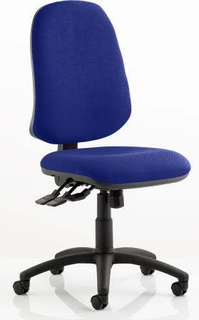 Elan XL operator chair with 3-lever mechanism contoured backrest in bespoke serene fabric