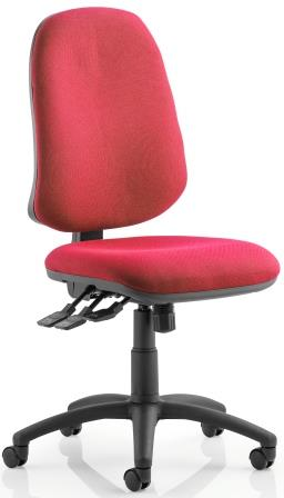 Elan XL operator chair with 3-lever mechanism contoured backrest in wine fabric