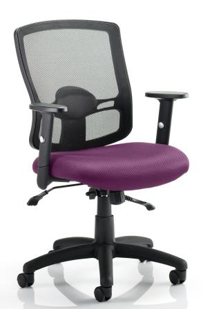 Pont 2 mesh back task operator chair with bespoke purple fabric seat