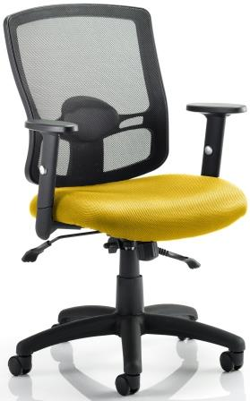 Pont 2 mesh back task operator chair with bespoke sunset fabric seat